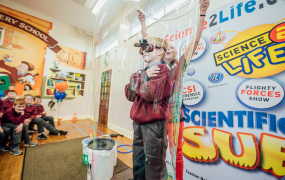John Beary steps inside a bubble as Scientific Sue launched the Tipperary Festival of Science at Monastery Primary School in Tipperary Town