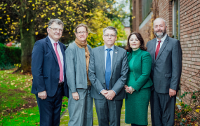 Professor Michael Breen, Dr Amy Healy, Kevin Hyland, Professor Niamh Hourigan & Professor Michael Healy pictured at the Research Colloquium on Human Trafficking & Modern Slavery held at Mary Immaculate College on 1 November