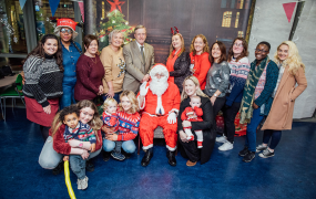 Student parents and their children pictured with Professor Eugene Wall, President of MIC, Aisling Cusask, President of MISU and Nicola Hurley, Coordinator of the Student Parent Support Service at MIC at the annual Student Parent Children's Christmas Party