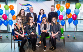 Five students from MIC pictured with Aisling Cusack, President of MISU, Professor Eugene Wall, President of MIC and Professor Niamh Hourigan, Vice-President of Academic Affairs at MIC