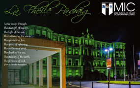 Foundation Building, Mary Immaculate College lit up in green at night for St Patrick's Day