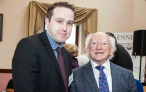 Clare PR consultant Mark Dunphy with President Michael D. Higgins