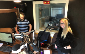 Wired FM volunteers Jack and Vanessa in studio on World Community Radio Day