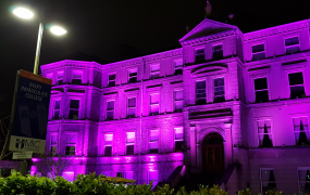 MIC's Foundation Building with purple lighting