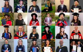 Collage of MIC students pictured in their graduation gowns holding parchments or awards