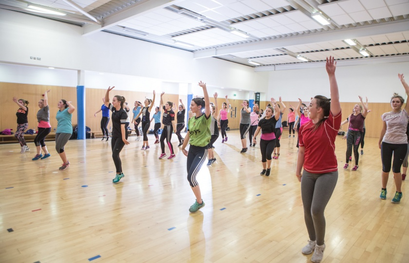 Fitness class in Tailteann Sports building Mary Immaculate College