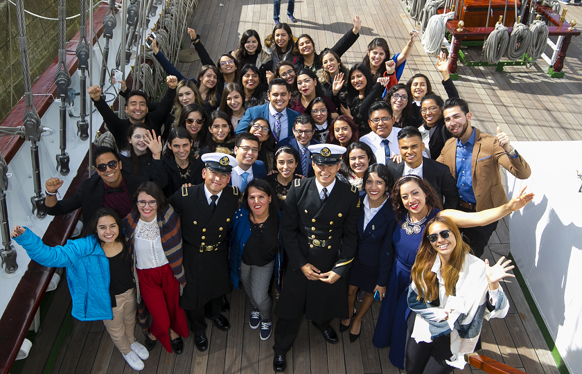 International students from MIC aboard the Mexico Naval Ship, Cuauhtémoc, in Dublin