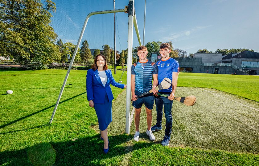Pictured at the launch were Professor Niamh Hourigan, Vice-President Academic Affairs, MIC with MIC student Colin English, Tipperary All-Ireland senior hurling winner 2019 and MIC alumni Aaron Gillane, Limerick All-Ireland senior hurling winner 2018 and Fitzgibbon Cup winner 2017.