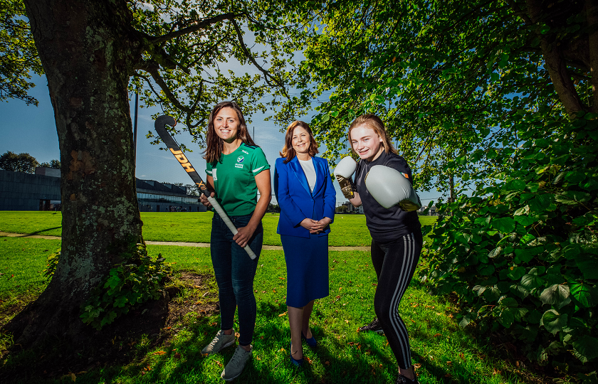 Pictured at the launch were Professor Niamh Hourigan, Vice-President Academic Affairs, MIC with MIC students Róisín Upton, international hockey player and Hayleigh Kiely, Irish kickboxing champion 2019 and world kickboxing champion 2018.