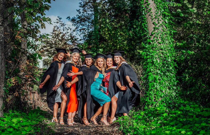 Sinead Corbett from Clonmel, Co Tipperary, Caroline Keane from Patrickswell, Co Limerick, Grainne Conlon from Killanena, Co Clare, Chloe Walsh from Ballyneety, Limerick, Aisling Cusack, Corbally, Limerick and Neamh Curtin, Clarina, Limerick pictured at the MIC Graduation 2019
