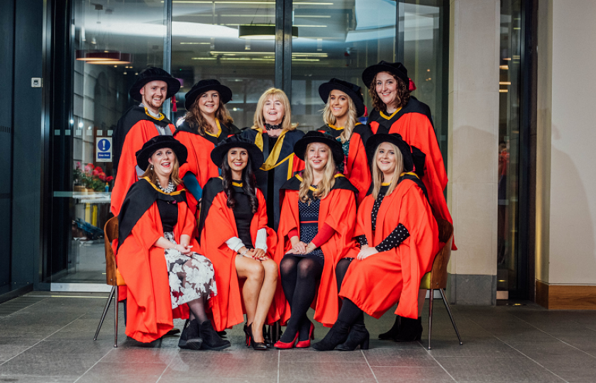 The first cohort of graduates from the Professional Doctorate in Educational and Child Psychology pictured with Professor Emer Ring, Dean of Education, MIC