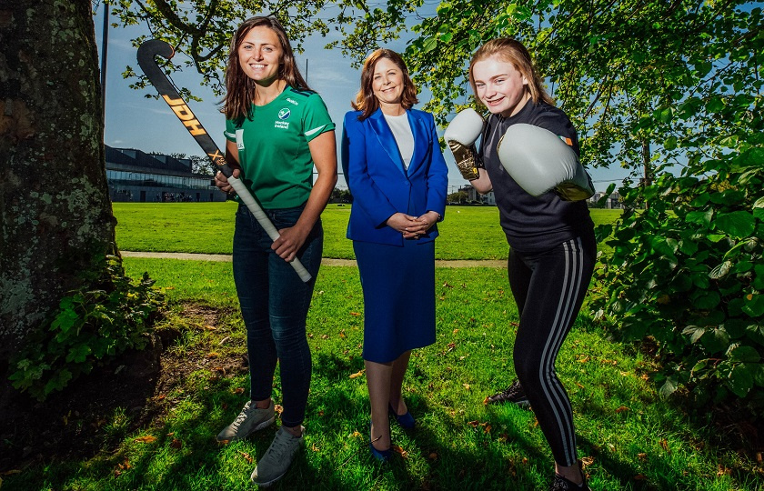 Ireland hockey player Roisin Upton, VPAA Prof. Niamh Hourigan and Hayleigh Kiely, Irish kickboxing champion