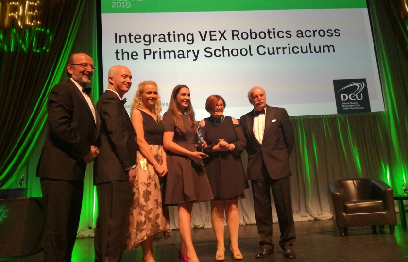 Dr Maeve Liston from Mary Immaculate College accepting the Collaboration Award at Teachers Inspire for the MIC-Dell VEX Robotics Project