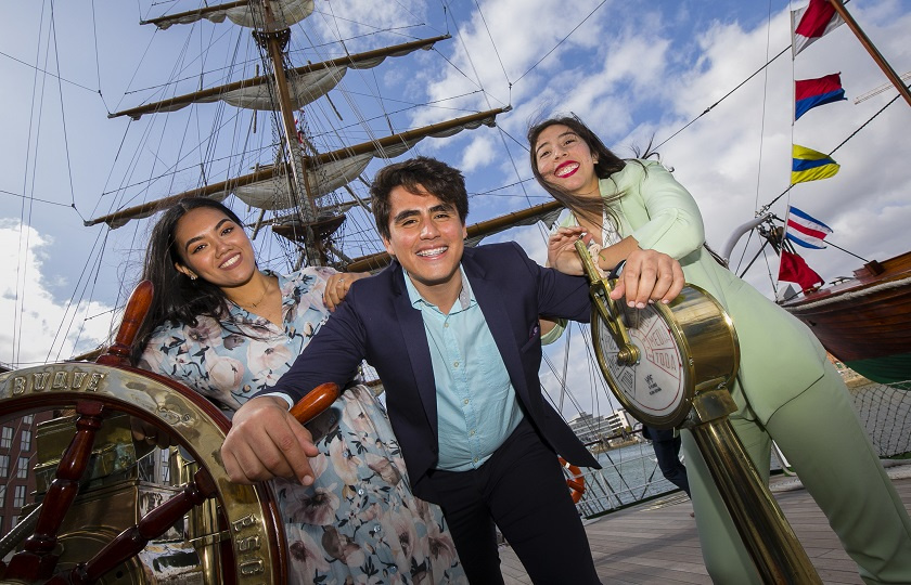 3 Mexican Students completing Teaching Programme at MIC visit Tall Ships in Dublin