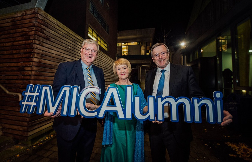 Pat McDonagh and Róisín Meaney pictured with Professer Eugene Wall at the MIC College Awards 2019