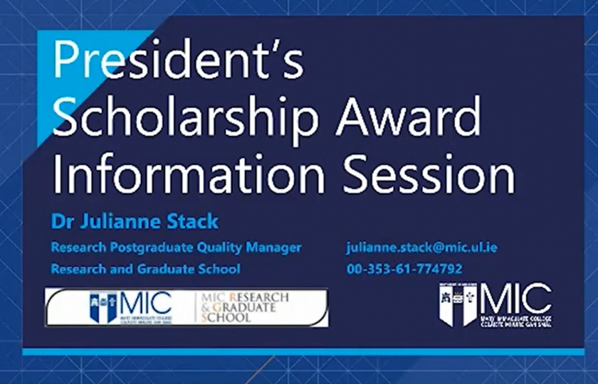 Information slide showing details of the President's Scholarship Award video