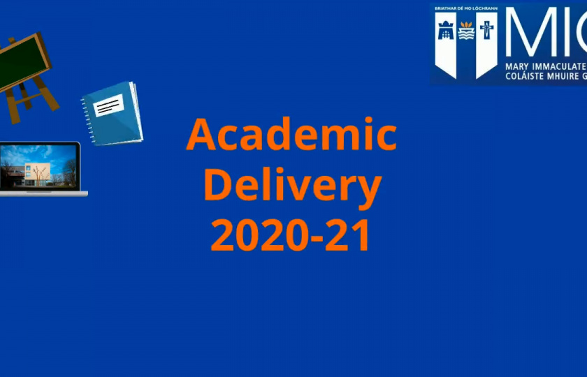 Opener to video with the words 'Academic Delivery 2020-21'