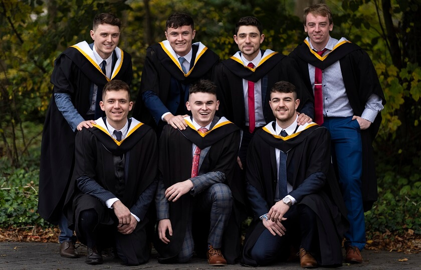 7 male arts graduates at 2018 Mary Immaculate College graduation